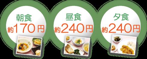 朝食170円・昼食240円・夕食240円